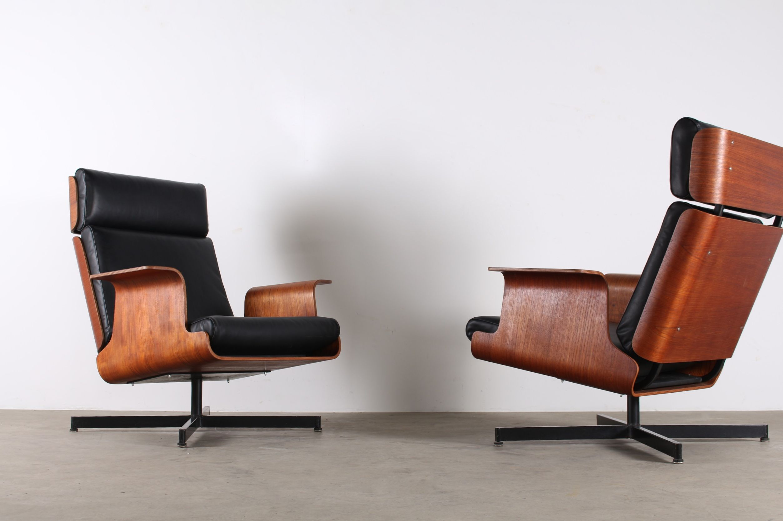 Lounge Chairs Armchairs Plycraft Cuir Leather Vintage