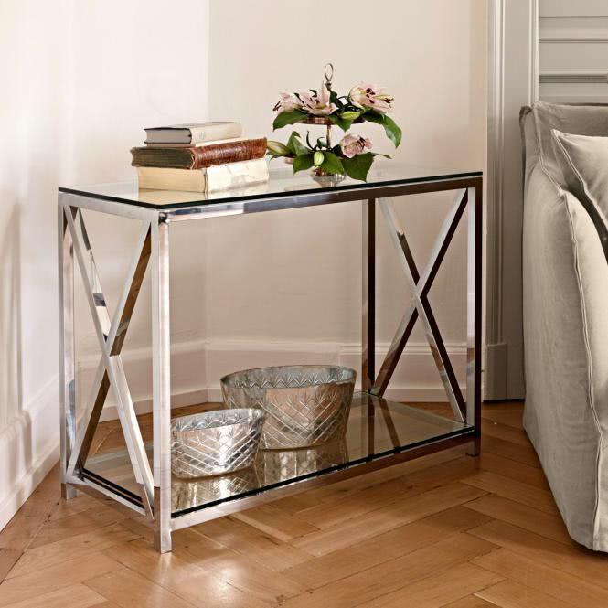Konsole Dartford Wohnzimmer Tische Konsolentische Silber Klar Rahmen Edelstahl Boden Glas Loberon Konsolentisch Konsolen Tisch Konsole