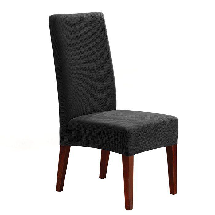 Stretch Pique Box Cushion Dining Chair Slipcover ...