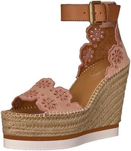 See By Chloe Women's Glyn Floral Espadrille Wedge Sandal, Light/Pastel Pink, 38 M EU (8 US)