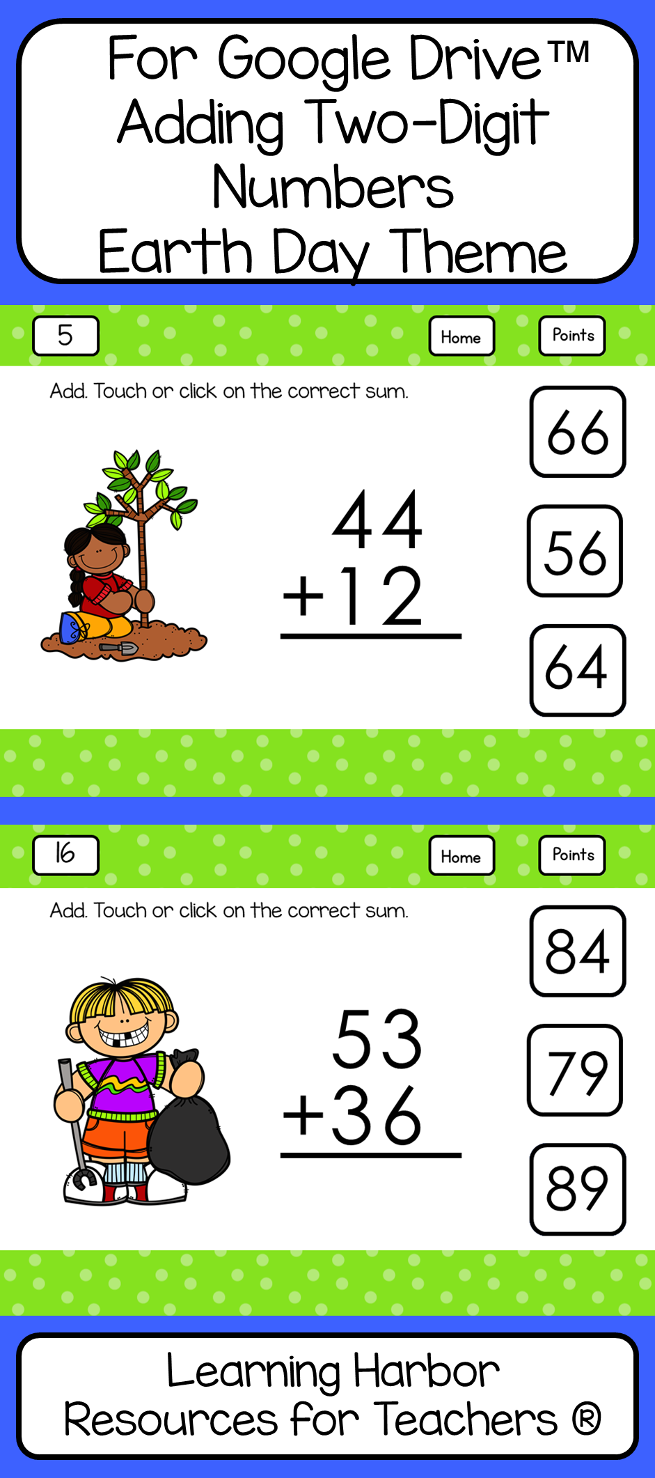 Adding Two Digit Numbers No Regrouping Earth Day for Google Drive™