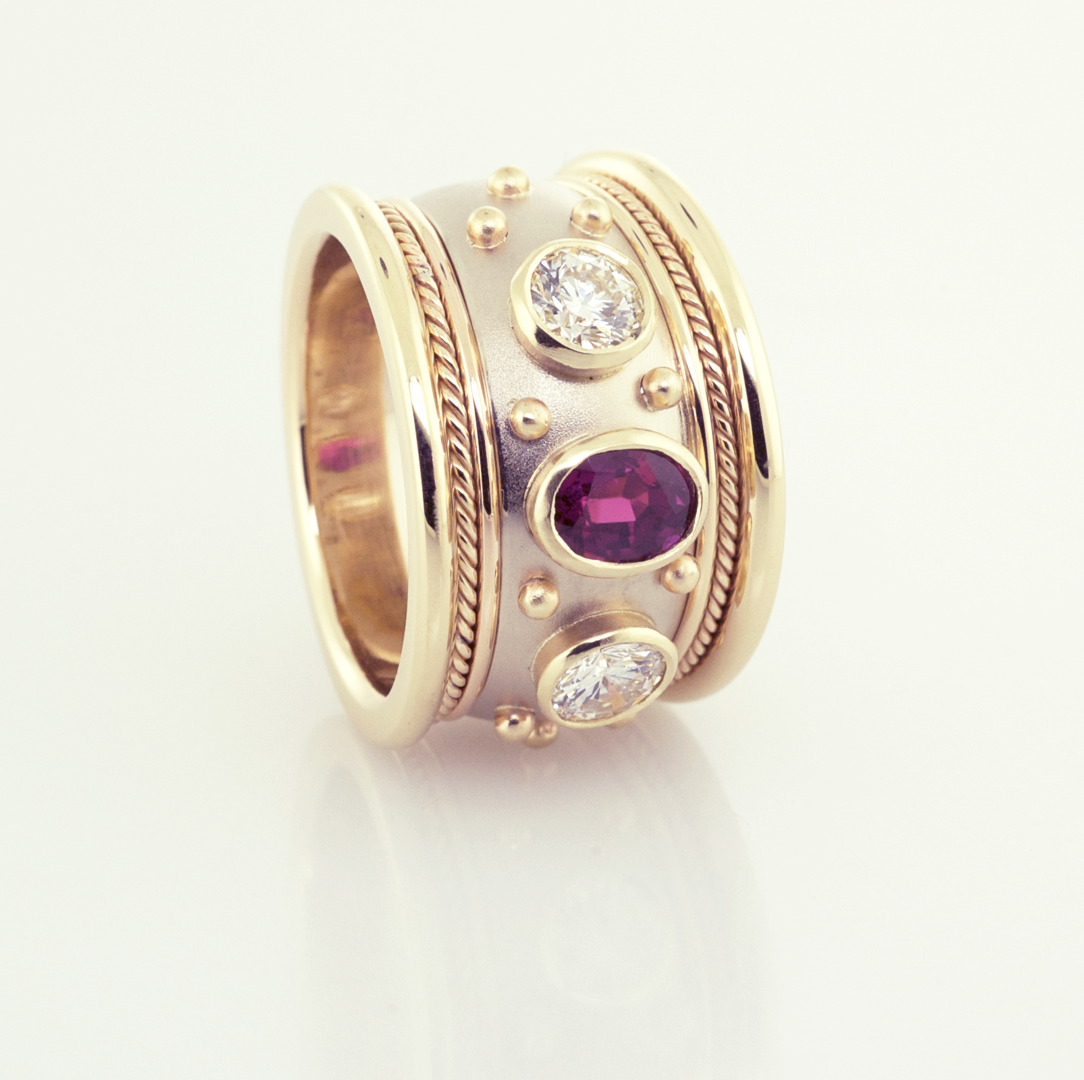 Ruby and Diamond Cigar band set in 14KT white and yellow gold 90ct