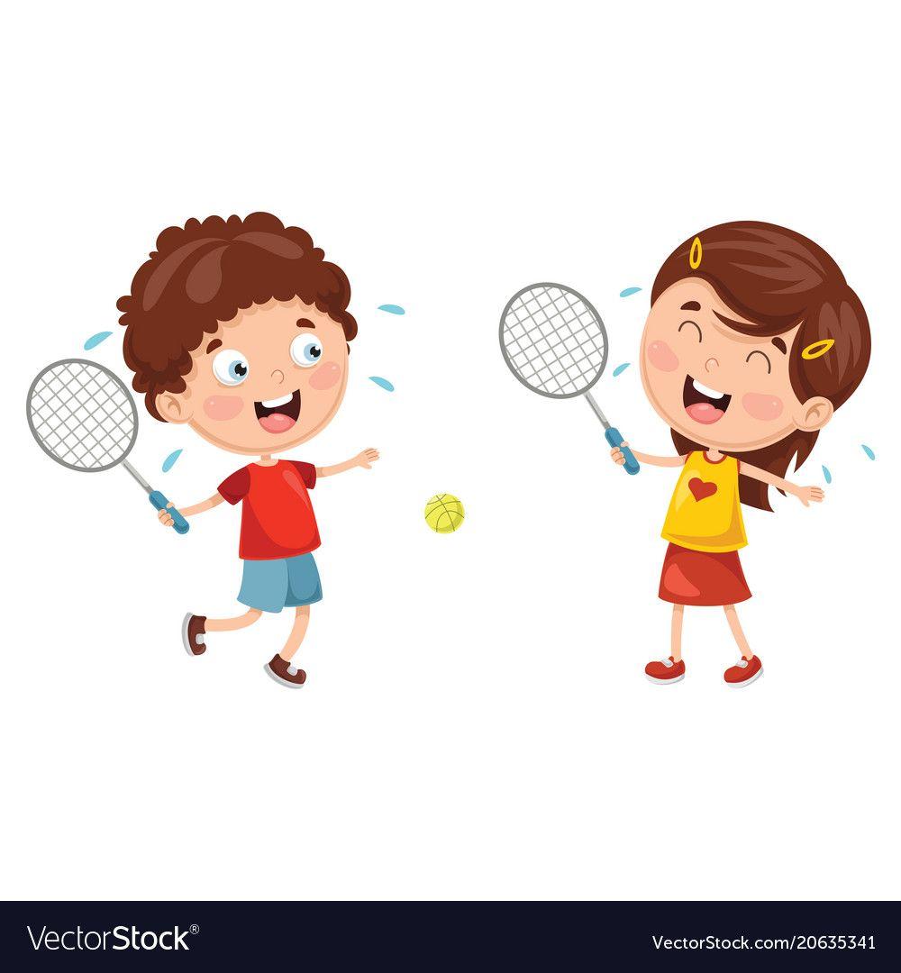 Kids Playing Tennis Vector Image On Vectorstock Kids Playing Cartoon Kids Kids