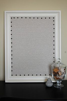 Diy linen bulletin board with nailhead trim diy art for Linen cork board