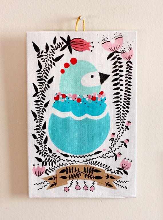 Bird in the Garden 01. Original Illustration by KupKupLand on Etsy, €25.00