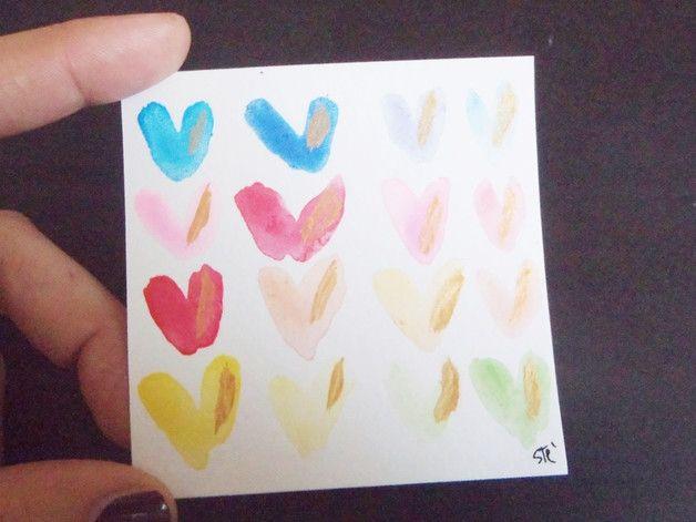 Acquarelli - mini acquerello cuori arcobaleno gay pride arte as - un prodotto unico di LaSoffittaDiSte su DaWanda