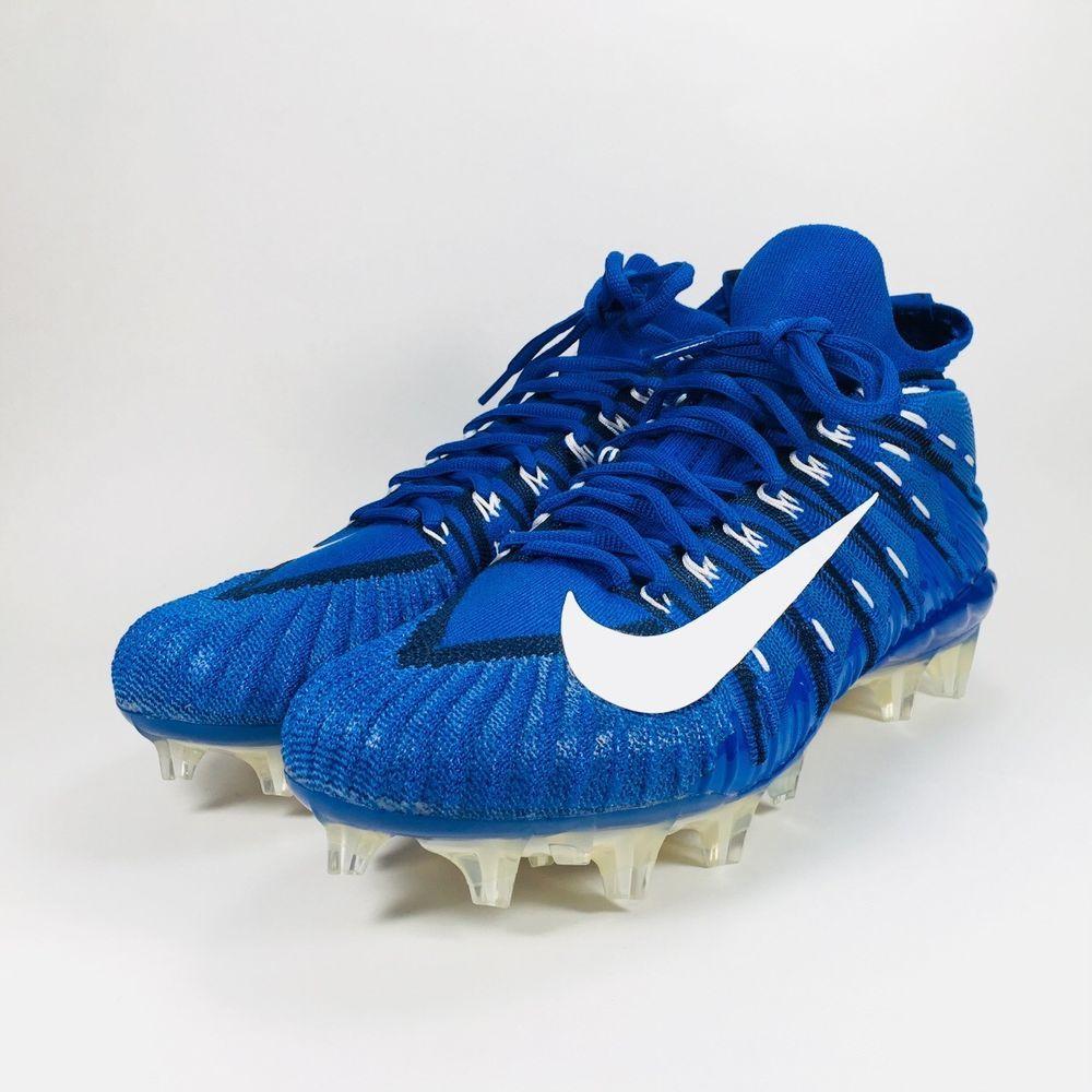 a25d6bd1cfb8 Nike Alpha Menace Elite Football Cleats Flyknit Size 9.5 Blue White  871519-414 (eBay Link)