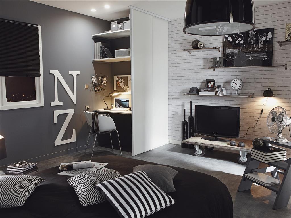 une chambre d 39 ado ou de jeune adulte avec son style blanc et gris la d coration avec le. Black Bedroom Furniture Sets. Home Design Ideas