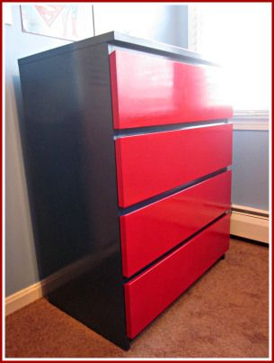 Spray Painting Ikea Furniture This Malm Dresser Was Painted To Match The Superhero Theme Of A Boy S Room Home Decor