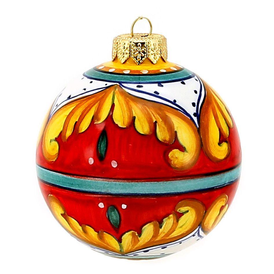 CHRISTMAS ORNAMENT: Red Pia Design Round Ball Sm