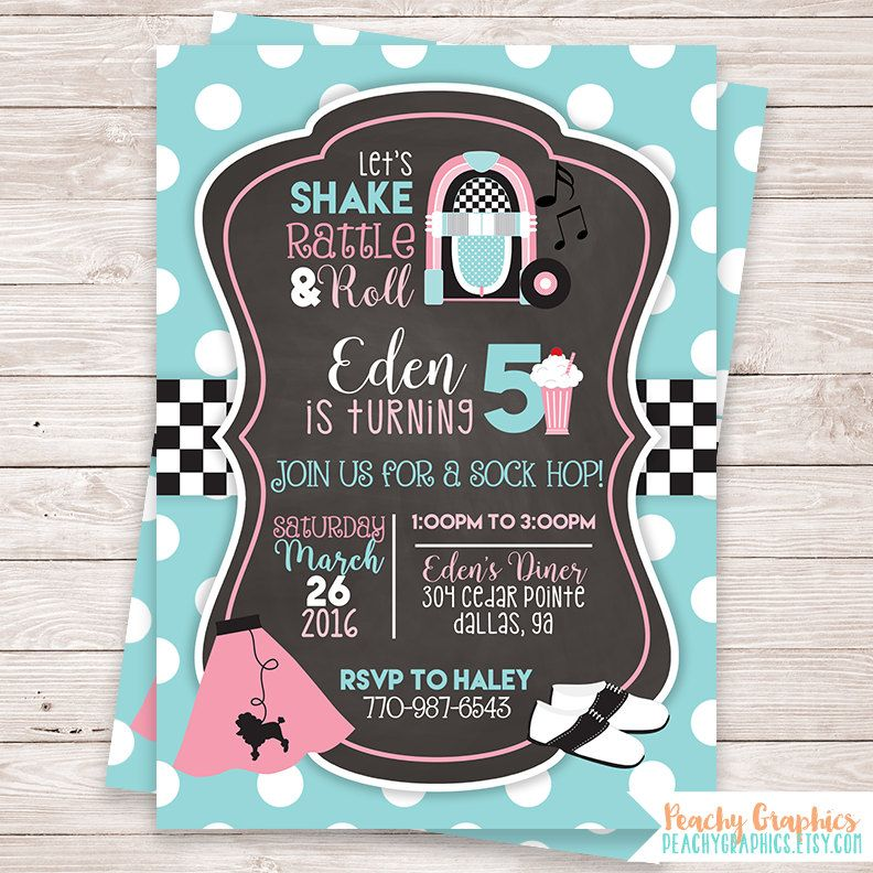 design birthday party invitations free%0A Printable    u    s Birthday Party Invitation  Sock Hop Invitation  Fifties    s  Diner  Poodle