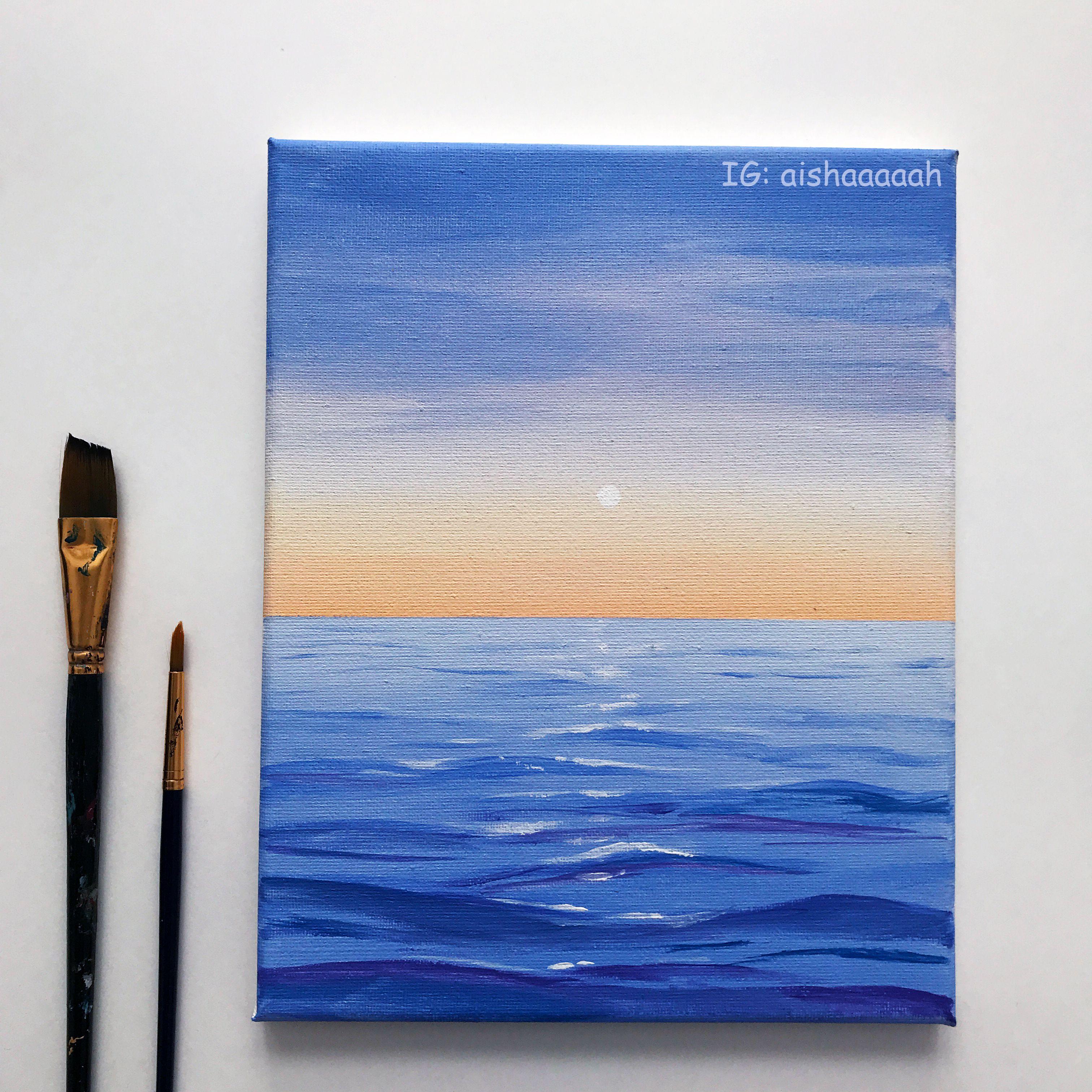 Ocean Sunset Painting Acrylic Diy Canvas Art