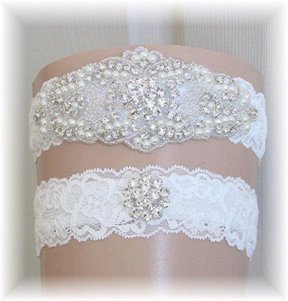 Wedding Garter Set Bridal Lace Keepsake Toss Stretch Garters With Crystals