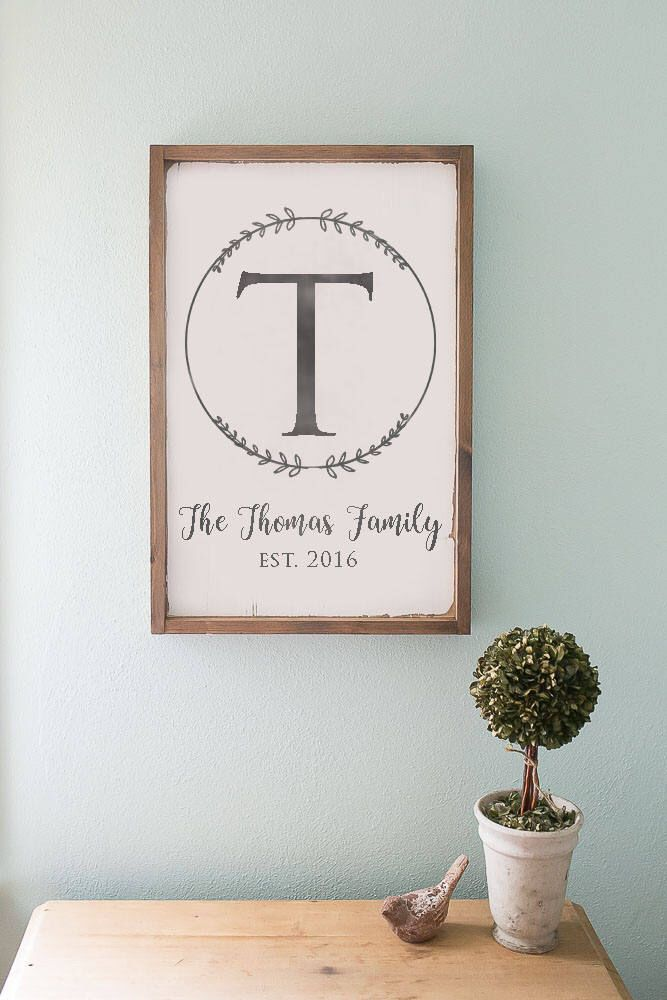 Last name sign monogram sign wooden sign farmhouse sign for Modern home decor gifts