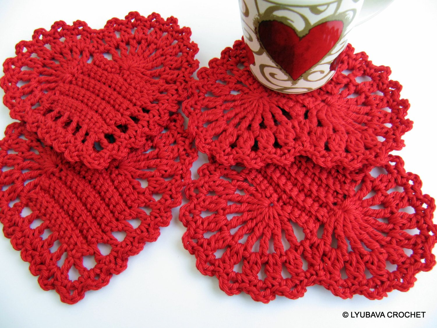 Red heart crochet coasters set of4 housewarming gift crochet red heart crochet coasters set of4 housewarming gift crochet hearts cozy home decor christmas gifts hand crocheted items ready to ship bankloansurffo Images