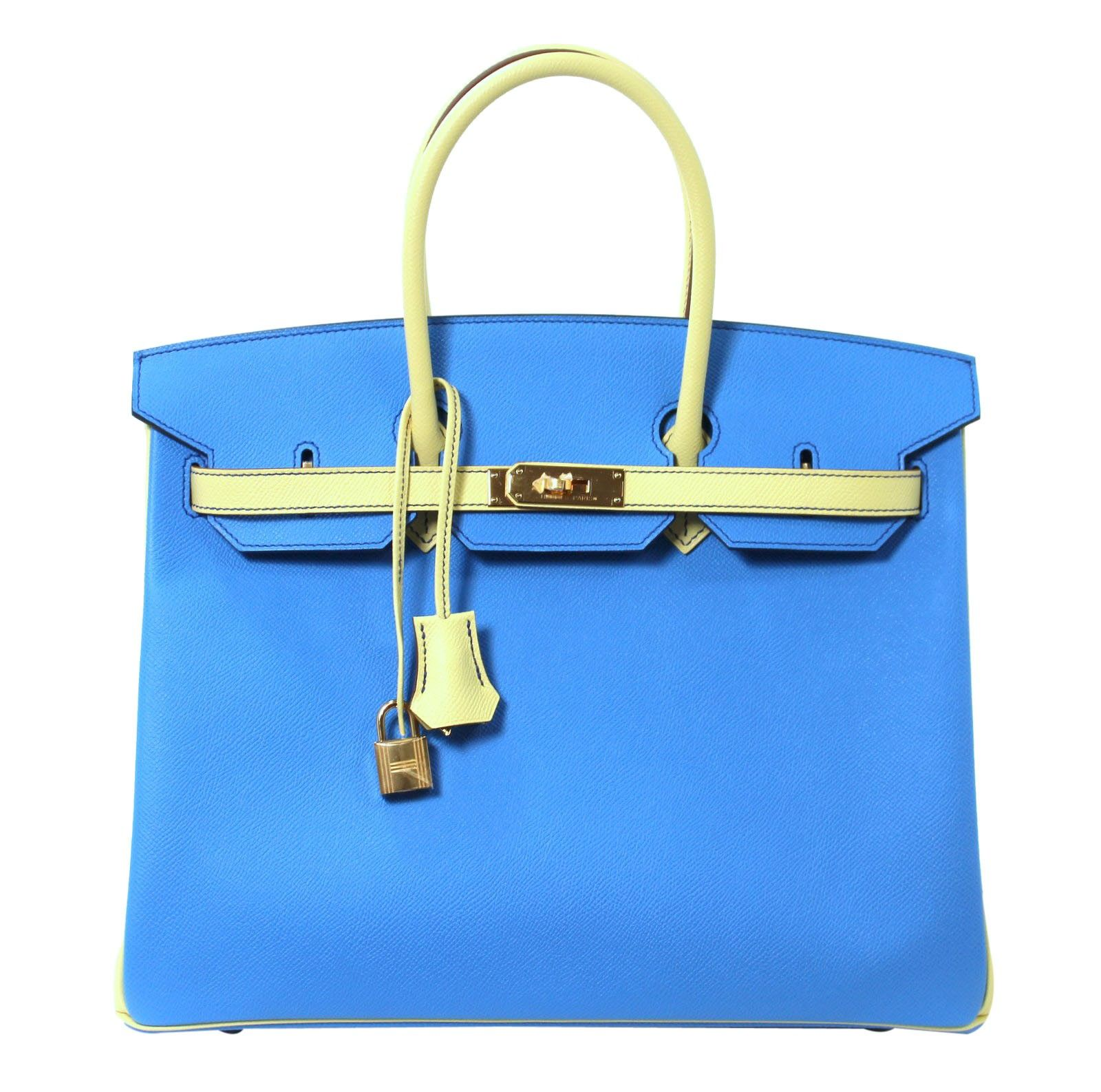 dd4bae1a749c Hermès Blue Paradis Jaune Canari Epsom BiColor Birkin 35 - Hermès 35 cm Horseshoe  Birkin Bag in BLEU PARADIS and JAUNE CANARI Epsom Leather - Never Carried