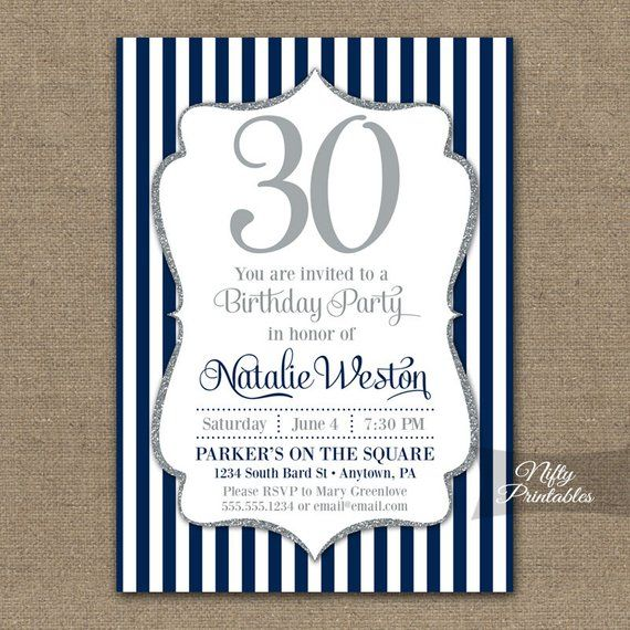 Navy Blue Silver Birthday Invitations