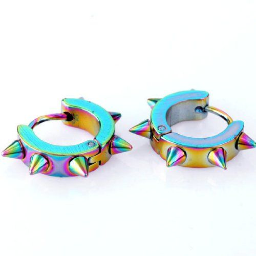 * Penny Deals * - PiercingJ 1 Pair Colorful Hoop Spike Stud Men's Earring 0.9mm Pin Stainless Steel * Check out the image by visiting the link.