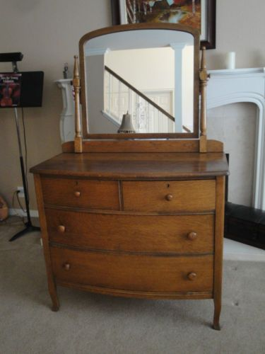 Antique 4 Drawer Wood Dresser With Mirror Ebay Antique Bedroom
