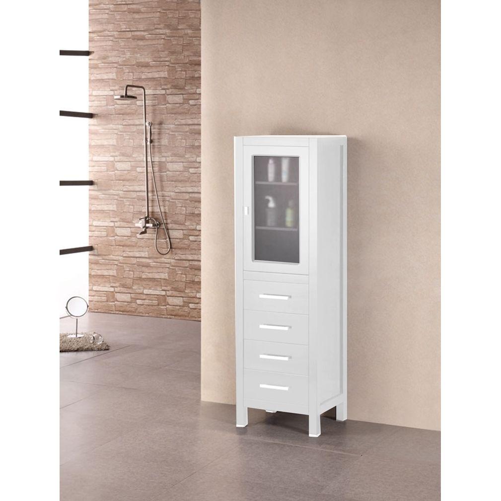 Design Element London 66 Linen cabinet (White), Size Single Vanities