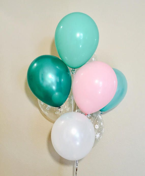 Pink and Mint Latex Balloons Pink and Mint Winter Balloons
