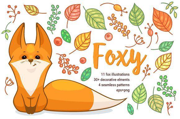 Fox vector set by zmeizza on @creativemarket