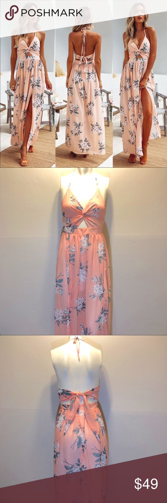Coral floral maxi boutique my posh closet arleezyg pinterest