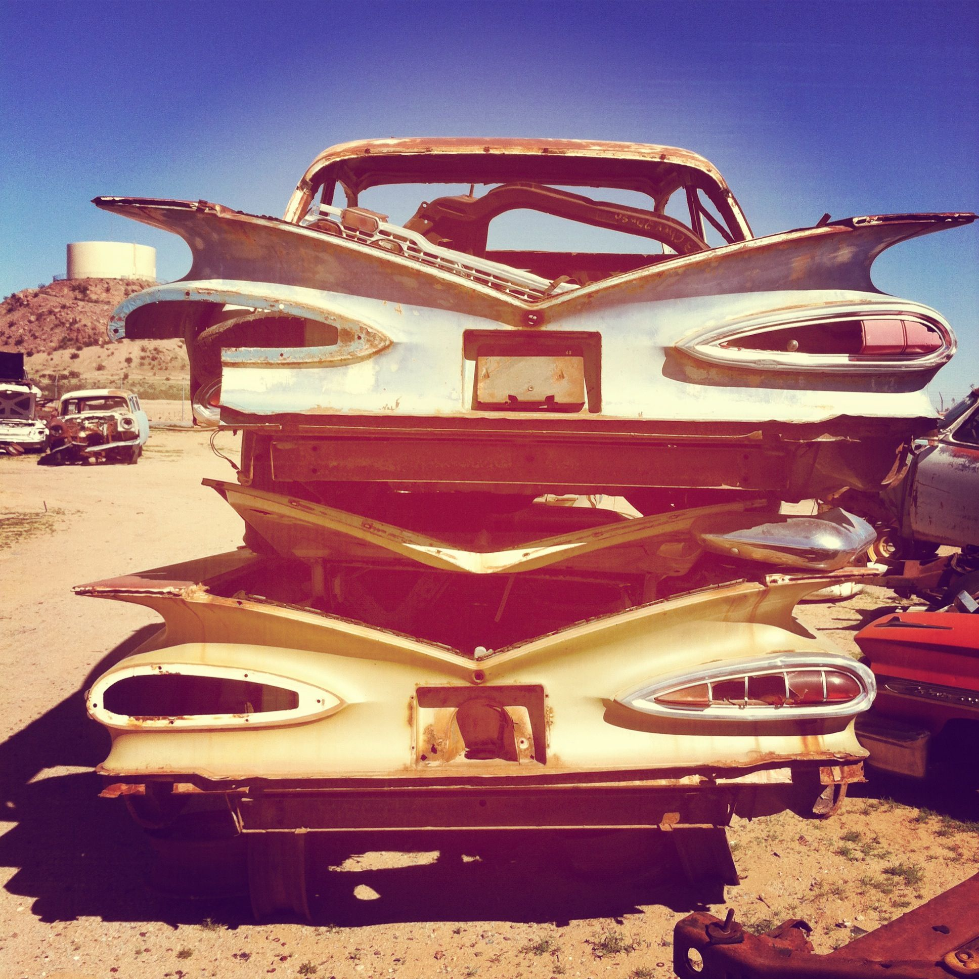 Stacked 1959 Chevy Impalas Classic Car Junk Yard in AZ