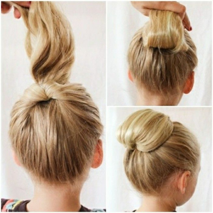 une autre id e de coiffure chignon simple pour cheveux longs et pais peau p le robe color e. Black Bedroom Furniture Sets. Home Design Ideas