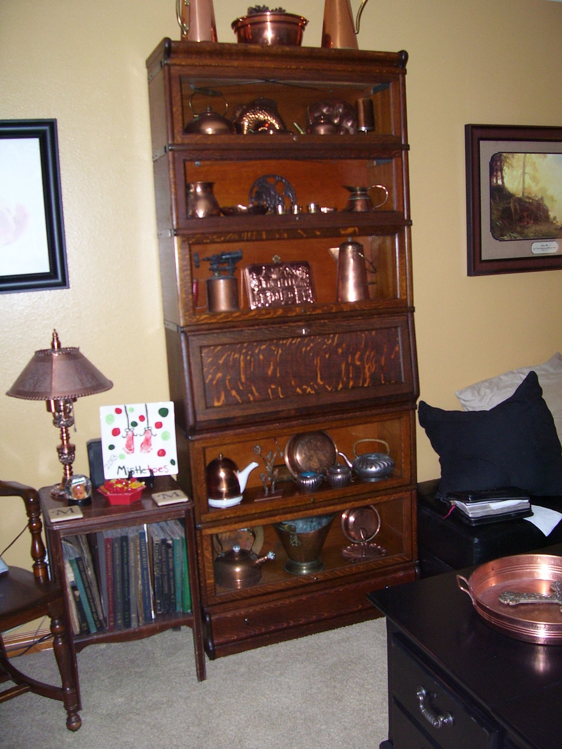 antique barrister bookcase made by globe wernicke with 5 bookcases and a standing desk in quartersawn