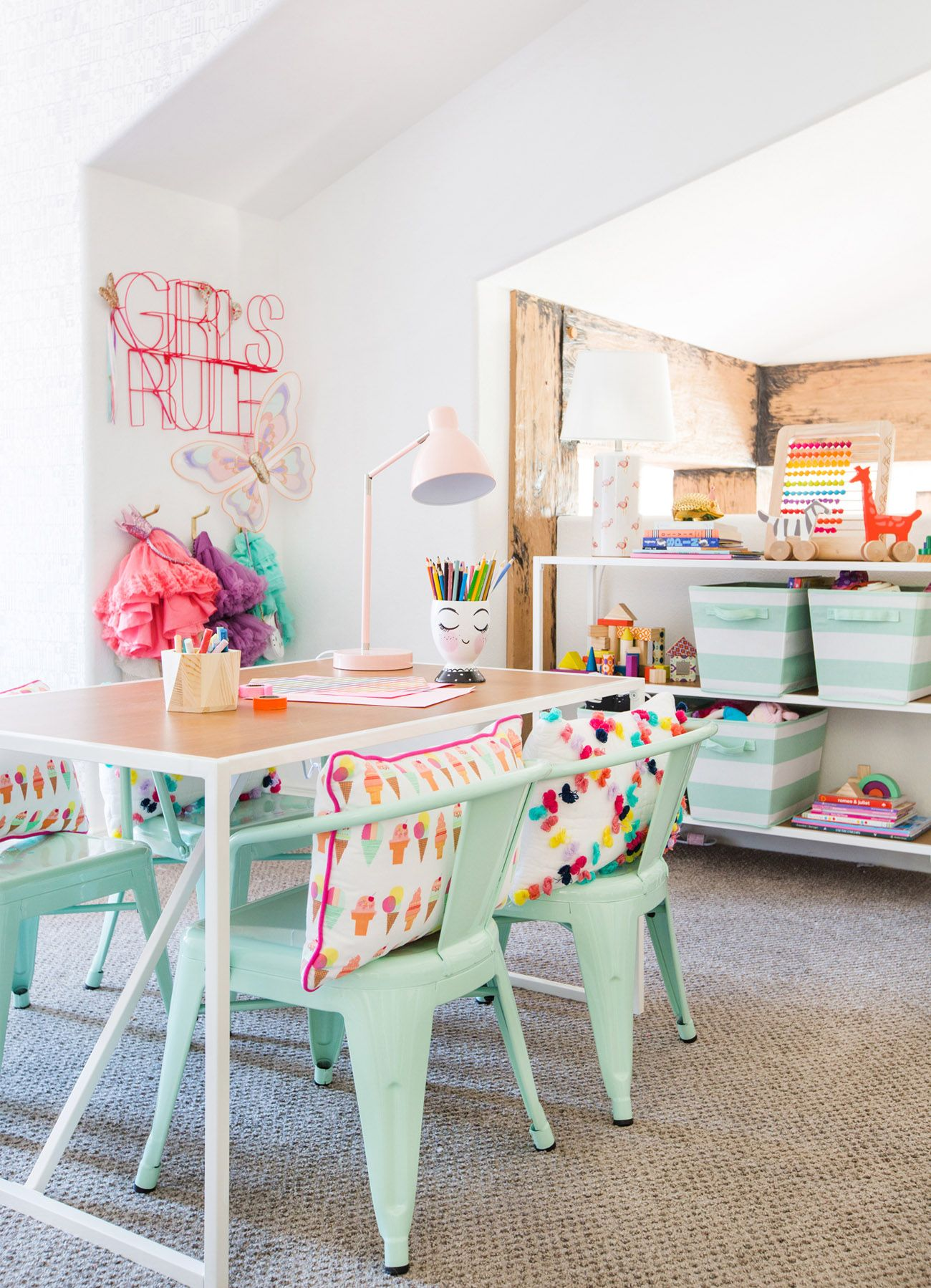 Playroom designed with the Pillowfort collection from Target -- love this arts + crafts area!