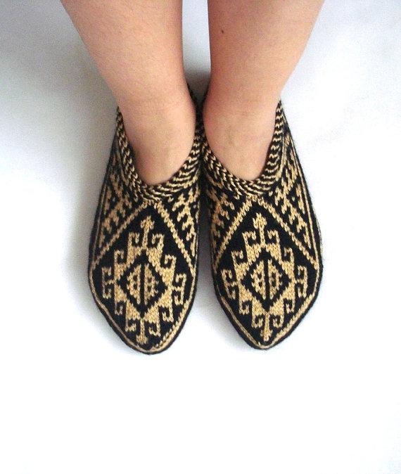 d63a2d6ed8d86 Beige caramel black hand knit womens slippers, gifts for women, knit ...