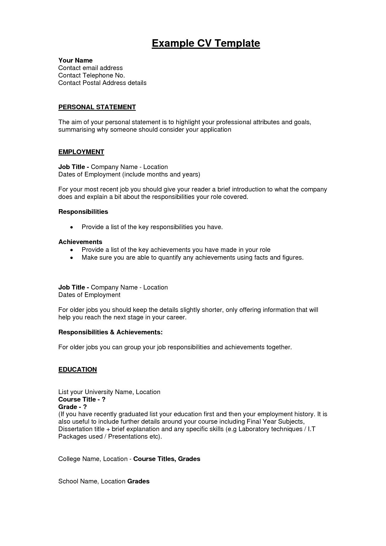 Personal Statement For Resume Sample Personal Resume Example. Example Of Personal  Resume Curriculum .  Personal Resume Template