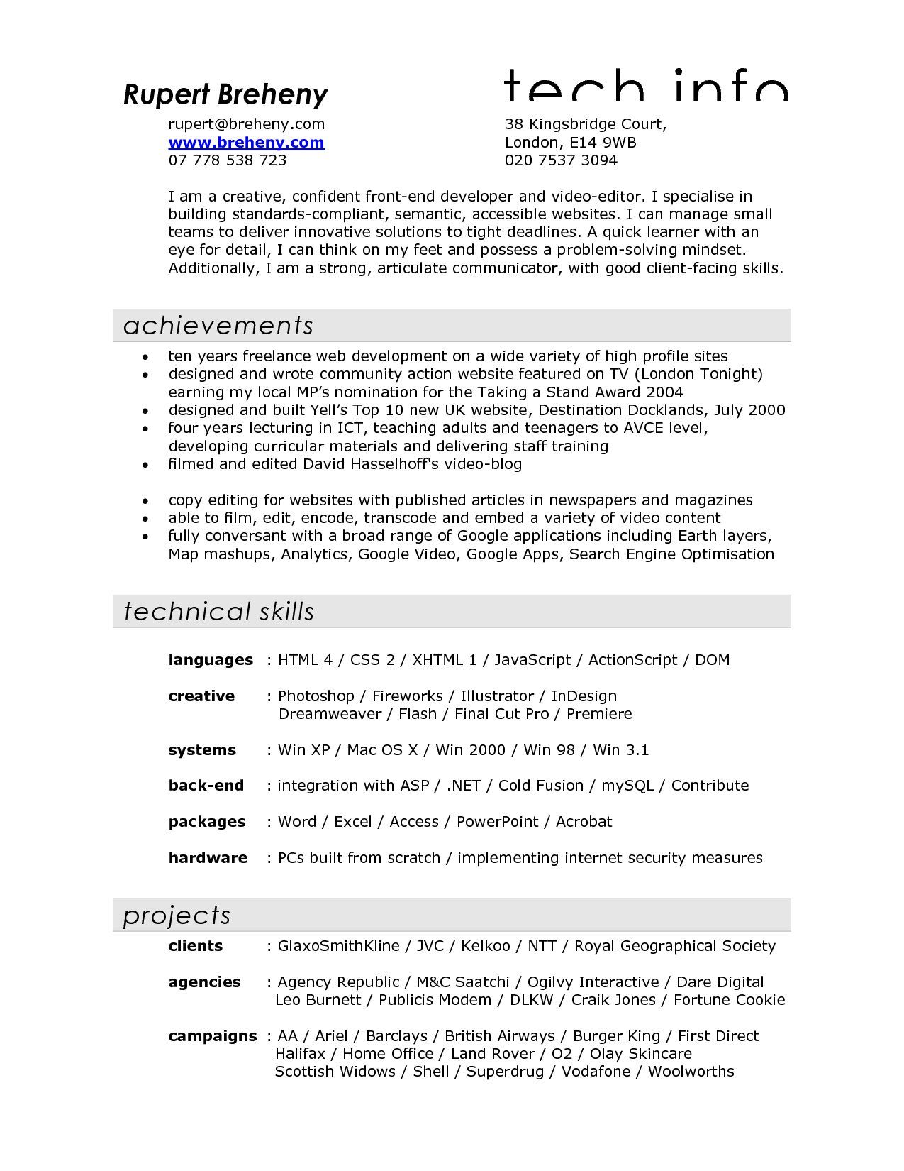 Resume Examples Skills Brilliant Film Resume Examples Sample Video Filmmaker For Crew Production Decorating Inspiration