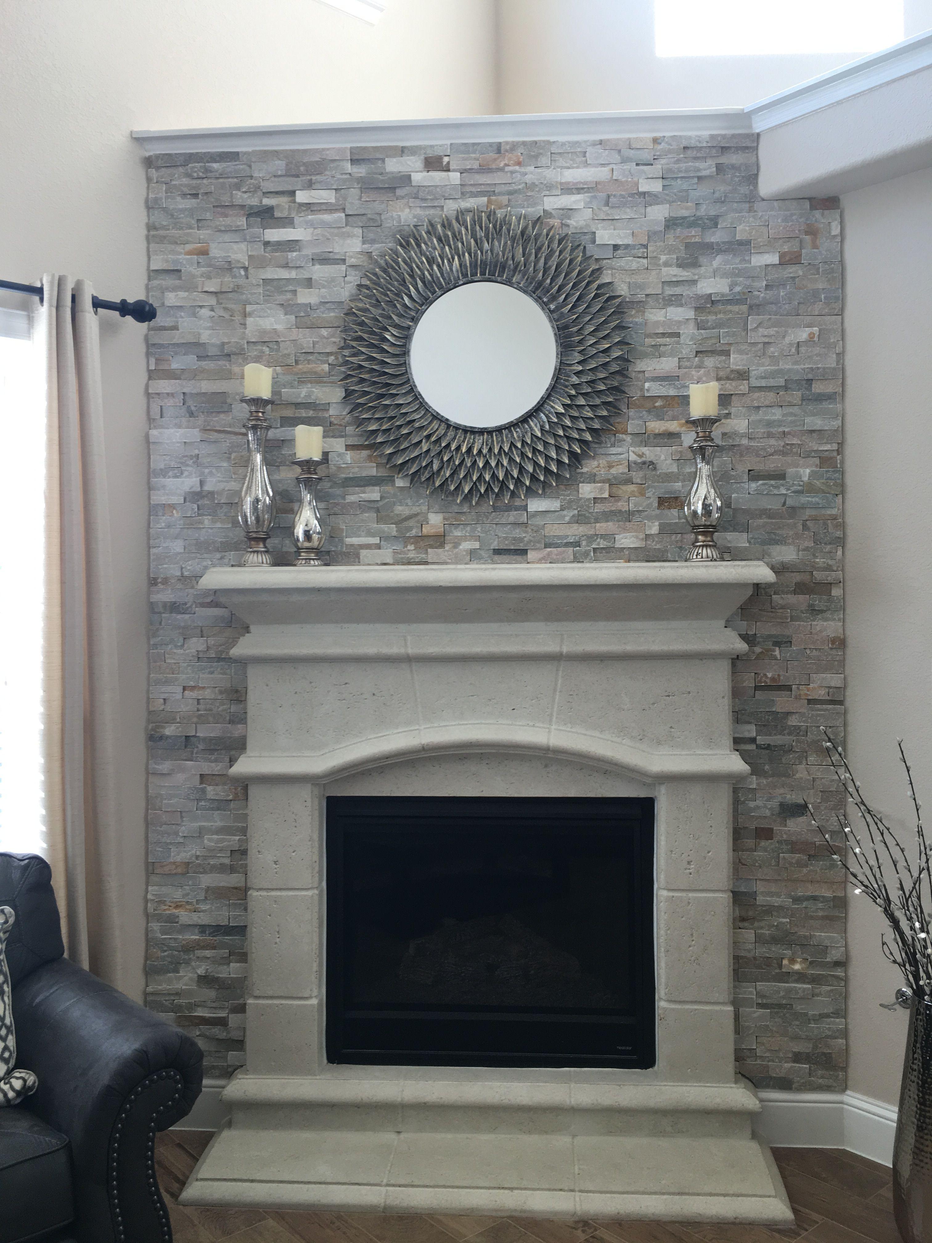 Quartz Ledger Backsplash On Cast Stone Fireplace