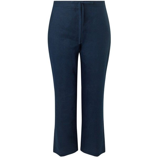 Precis Petite Linen Drawstring Trousers , Navy (745 DKK) ❤ liked on Polyvore featuring pants, navy, petite, blue pants, navy blue trousers, navy pants, petite pants and light weight pants