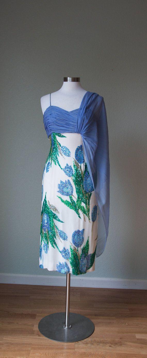 UNGLAUBLICHE 1950er Jahre Couture Seide Chiffon Sanduhr Bombshell ...