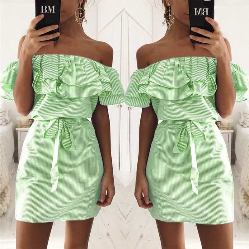 7e741bcb66a3  15.36 - Cool 2018 Summer Dress Women Casual Ruffles Stripe Slim Mini Dress  Sexy Slash Neck Off Shoulder Vestidos Party Dresses Beach dress - Buy it  Now!