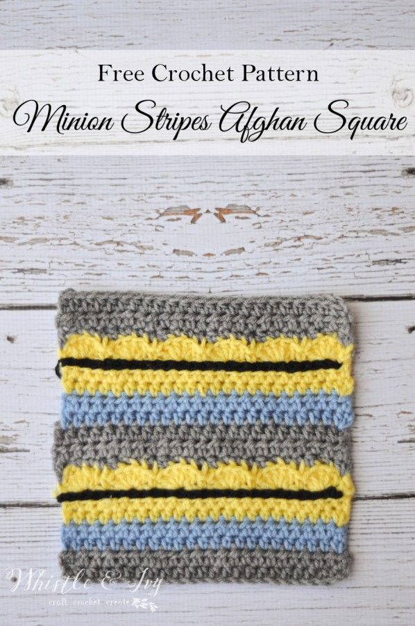 Free Crochet Pattern - This Minion Stripes Afghan square is a fun ...