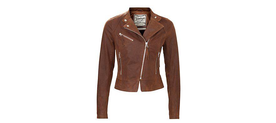 New Look Warm Brown Leather Biker Jacket - score!