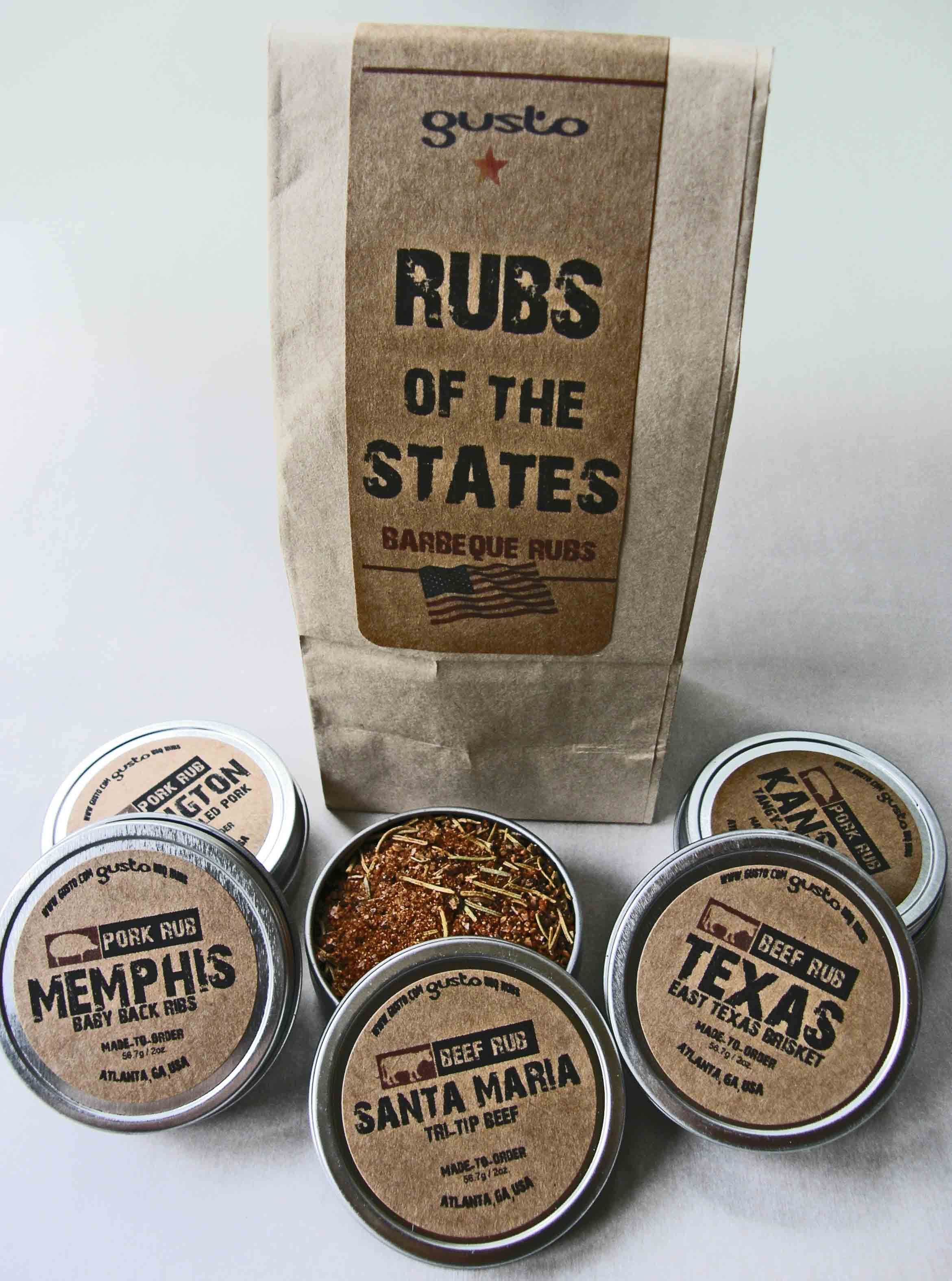 Gustos barbecue rubs gift set featuring rubs from texas