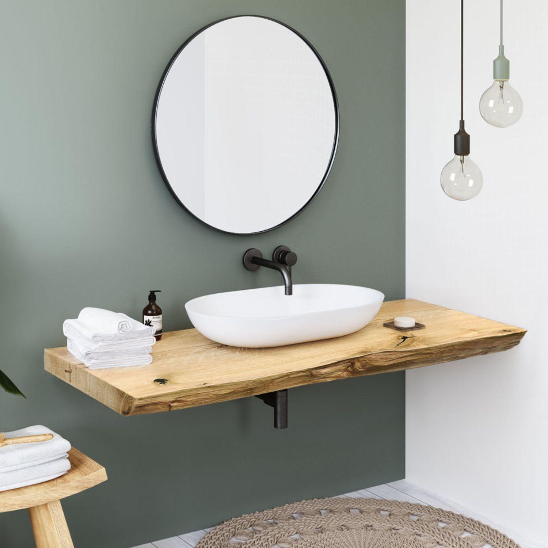 Die Edle Waschtischplatte Aus Eiche Massiv Mit Baumkante Ist Ein Echter Hingucker In Jedem Waschtischplatte Runde Badezimmerspiegel Badezimmer Innenausstattung