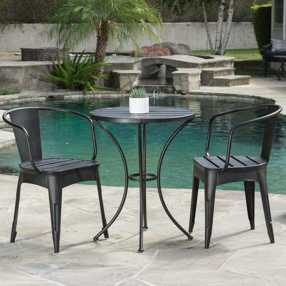 Noble House Colmar Black With Silver 3 Piece Metal Round Outdoor