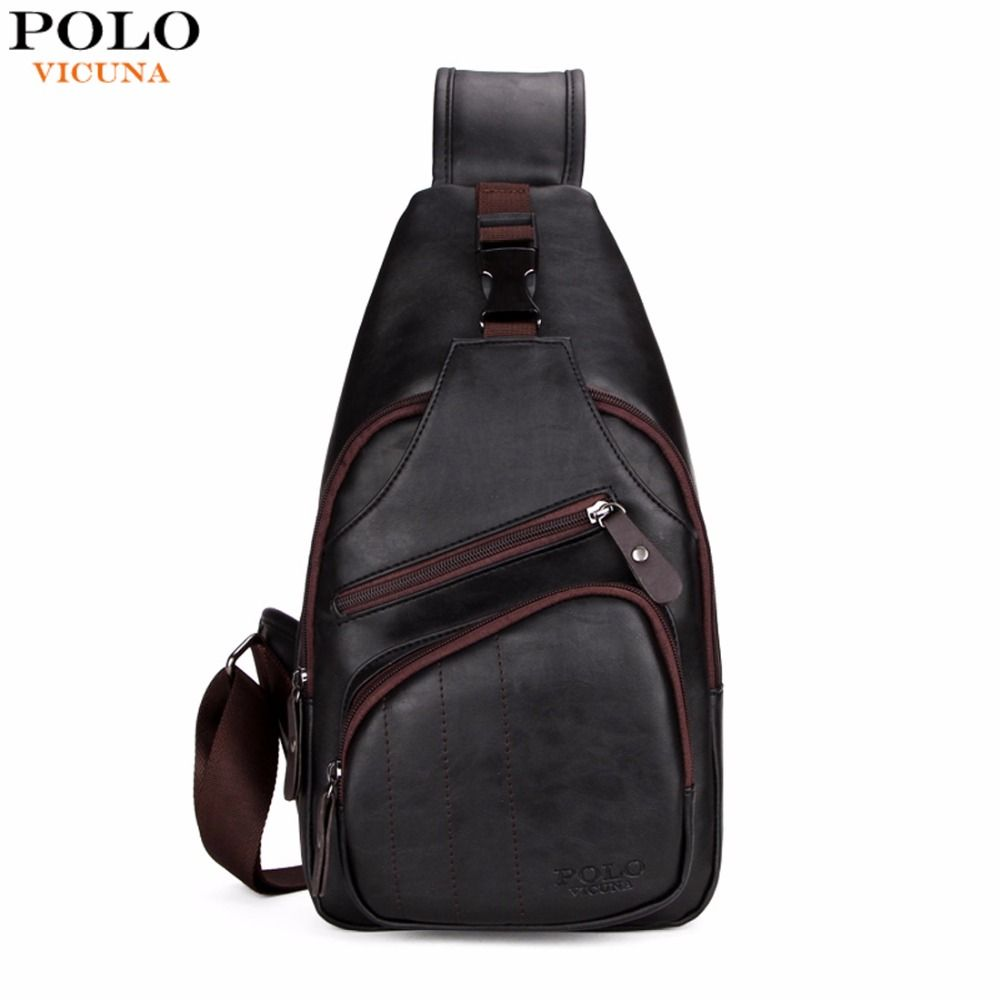 a61e16dec8f6 VICUNA POLO Extra Large Size Fashion Mens Shoulder Bag Burglarproof Snapper  Black Leather Mens Messenger Bag Travel Chest Bag
