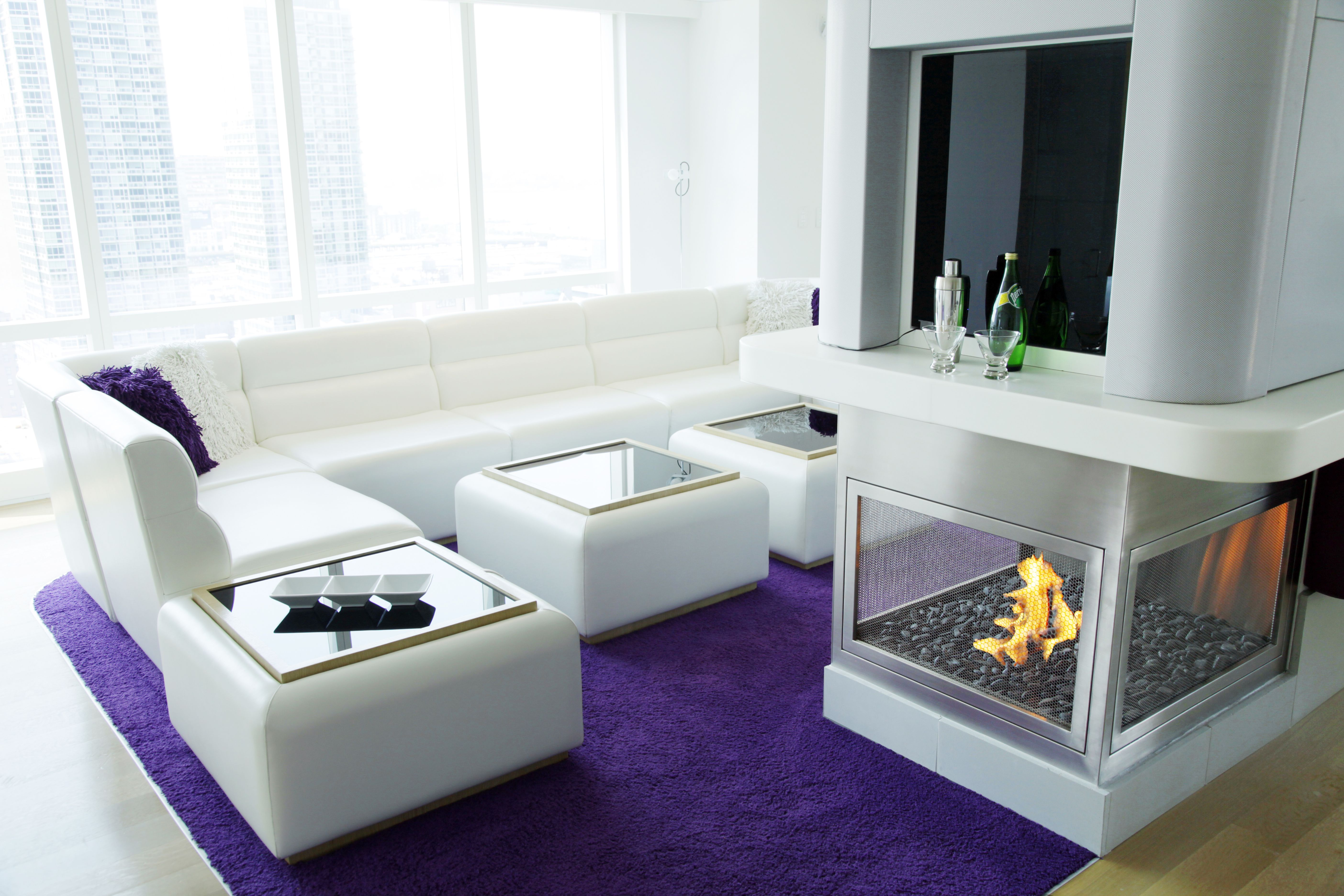 custom 3 sided stainless steel hearth cabinet ventless fireplace