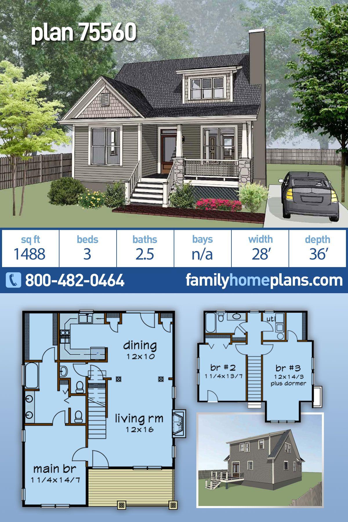 Photo of Craftsman Style Neighborhood House Plan #75560 | 3 Beds, 2.5 Baths 1488 Sq ft Home Plan