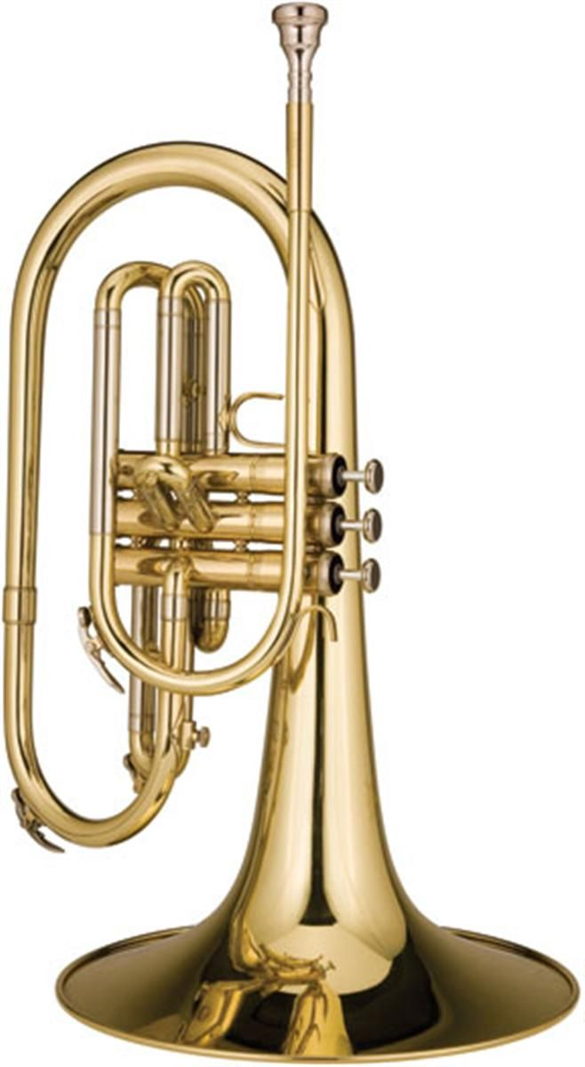 Mellophone: a three-valved brass instrument in the key of F or E♭ that is used in marching bands and drum and bugle corps in place of French horns. | Musical Instruments: Brass