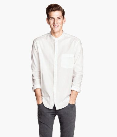 Collarless Shirt - Grey Colour $24.95 | Dapper Man Wardrobe ...
