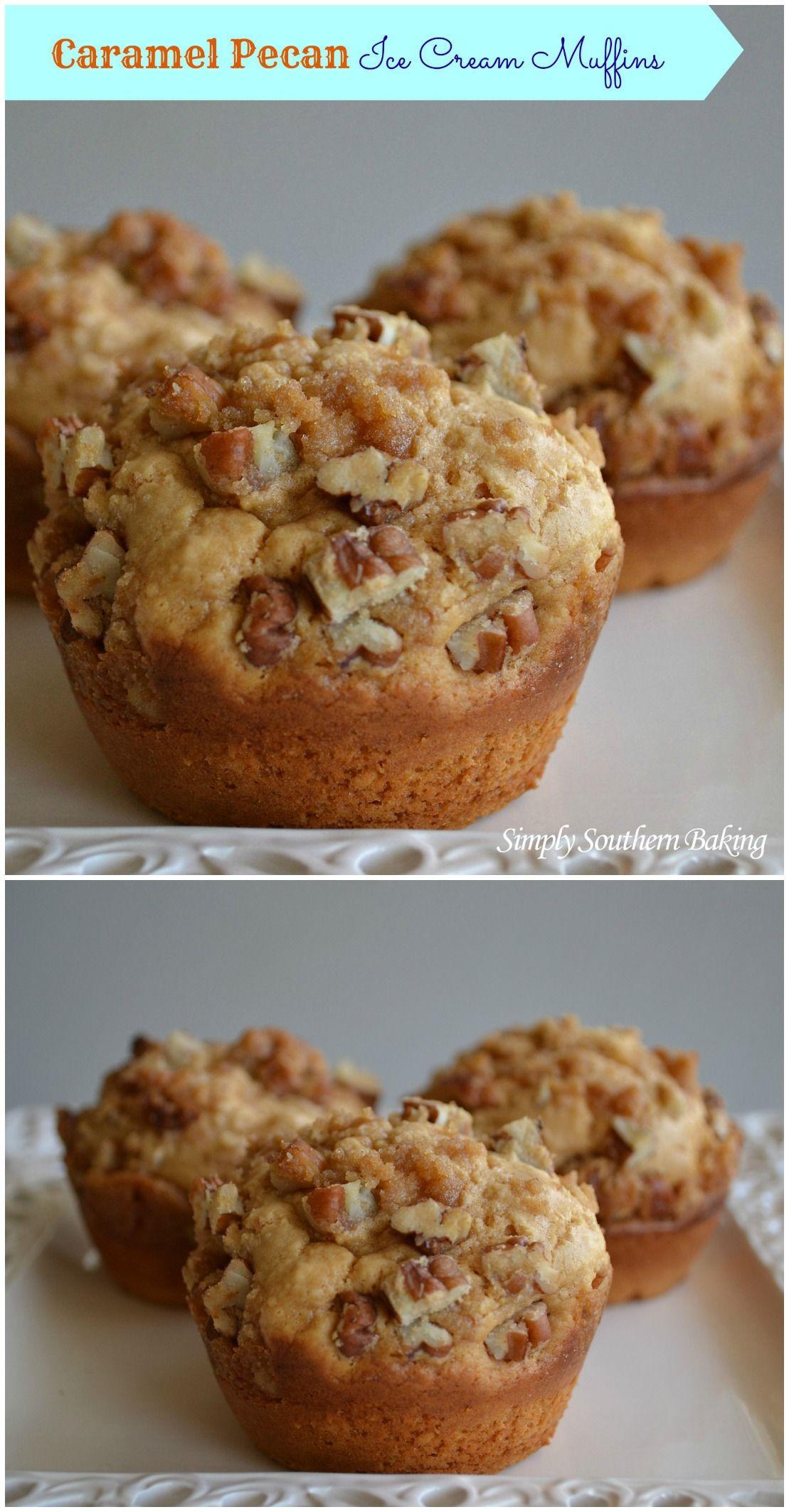 Caramel Pecan Ice Cream Muffins