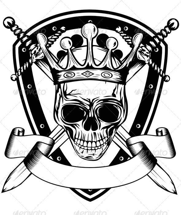 Skull In Crown Board And Crossed Swords Skull Art Shield